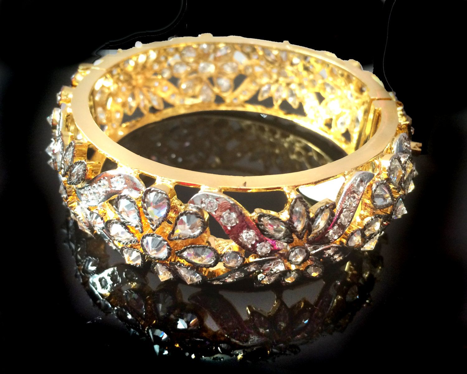 Gold Bangle BraceletTurkish jewelryrhodium platedStatement Bangle