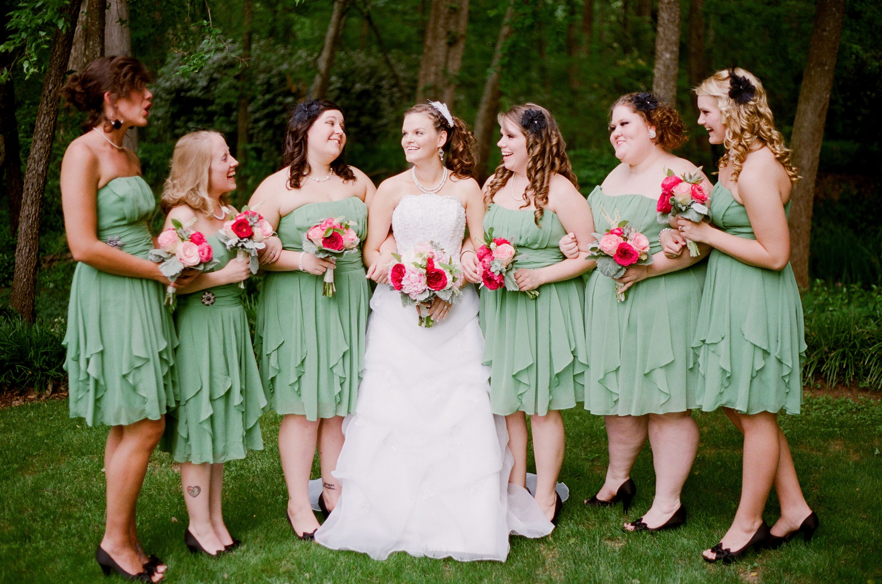 7d1a9fd13e5 Clover Green Bridesmaid s dresses (David s Bridal) My shoes matched theirs