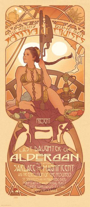 Art Nouveau Slave Leia by Adam Hughes