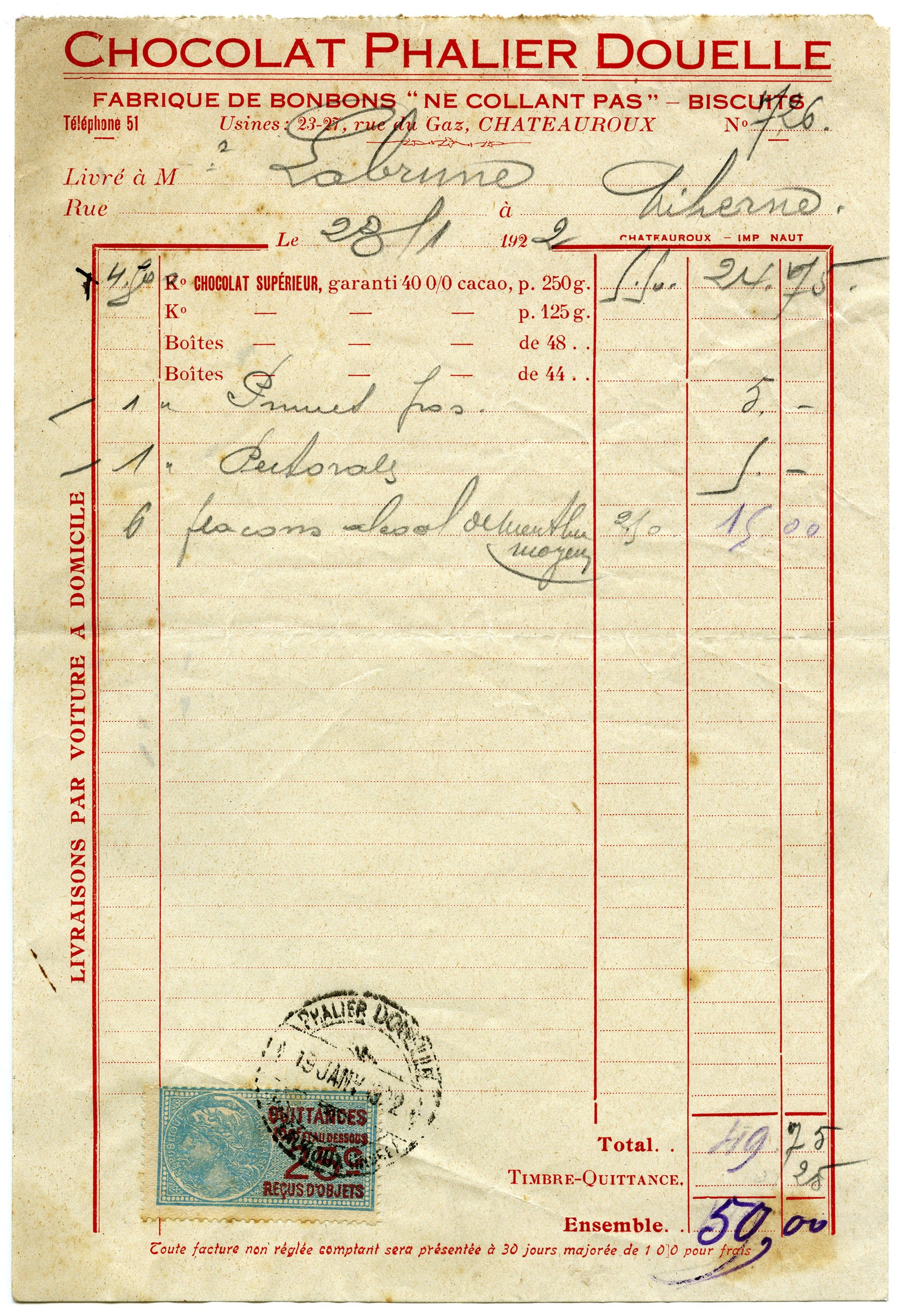 Vintage French Receipt Aged Shabby Invoice Old Paper Free Digital - Free online receipts invoices vintage online stores