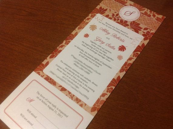 Wedding Invitations with attached RSVP Seal by LittleBeesGraphics, $200.00
