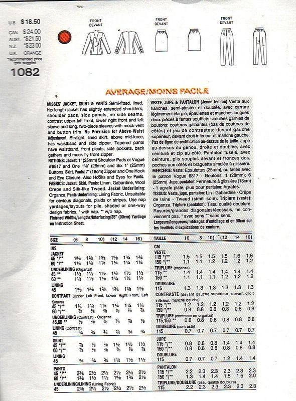 Vogue 1082 Givenchy Geometric Suit Pattern 12-14-16 UNCUT