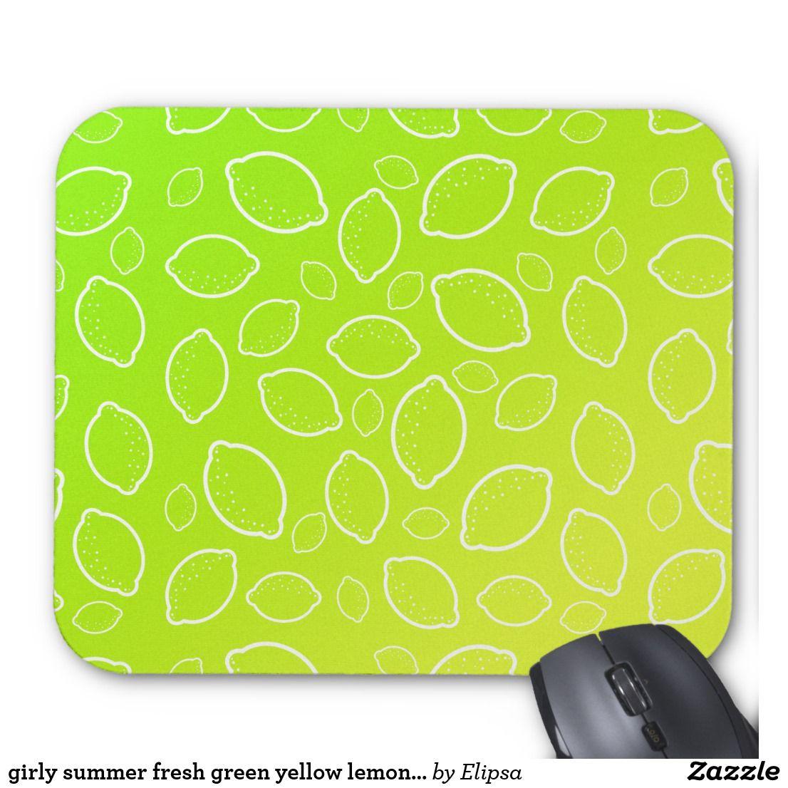 girly summer fresh green yellow lemon pattern mouse pad