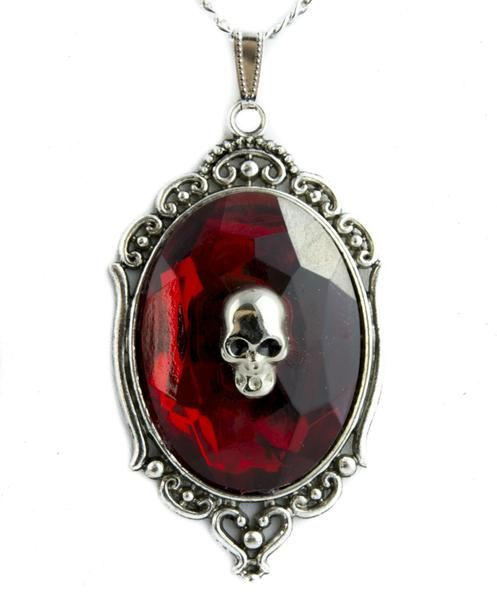 "- Death Skull with Red Stone Necklace - 2-1/2"" inches long / 1-1/2"" inches wide - Very strong Pewter Metal - 24"" inch (61cm) Heavy Chain - Clasp Close / Adjustable Designed to add a flair to any under"