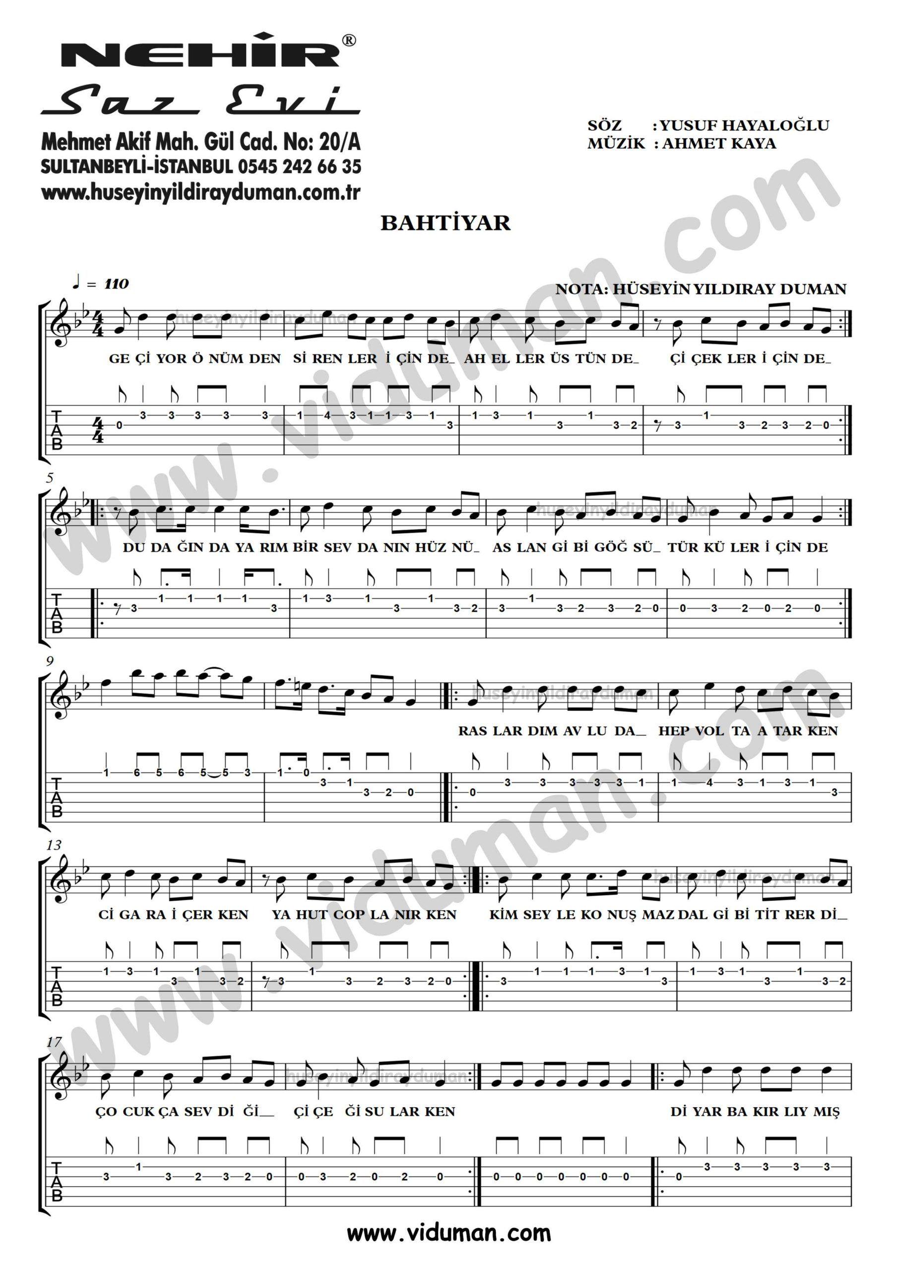 Bahtiyar Ahmet Kaya Gitar Tab Solo Notalari Gitar Martini Duman
