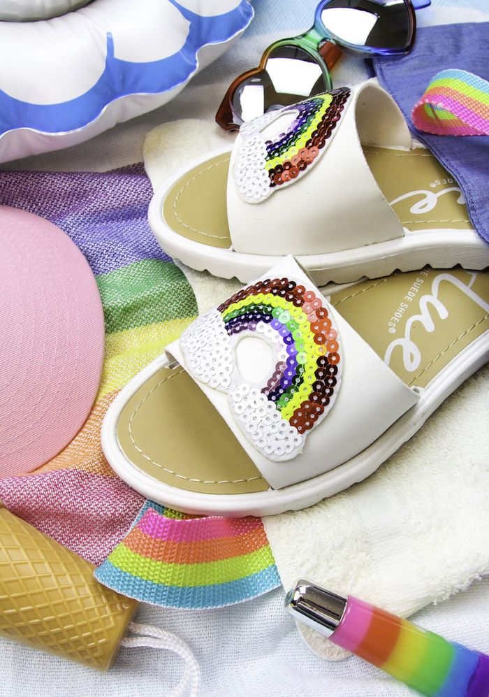 be824fc9f Easy DIY Rainbow Beach Sandals