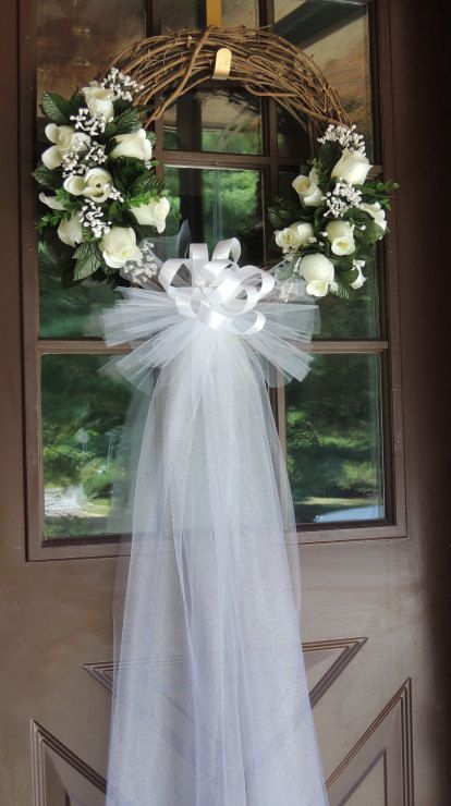 White rose wedding door wreath grapevine wreath bridal for Wedding door decorating ideas