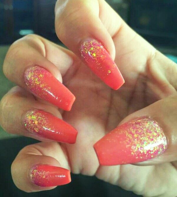 Coffin shaped nails. Coral solid color acrylic. 2015 ...