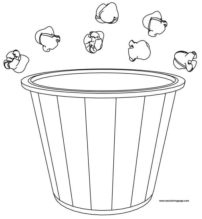 Popcorn Bucket And Pop Coloring Page Di 2020