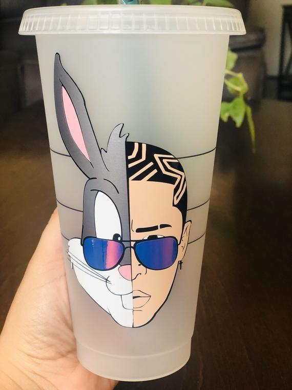 Bad Bunny Inspired Starbucks Reusable Cold Cup El Conejo Malo Bugsbad Bunny Starbucks Cup Person Vozeli Com