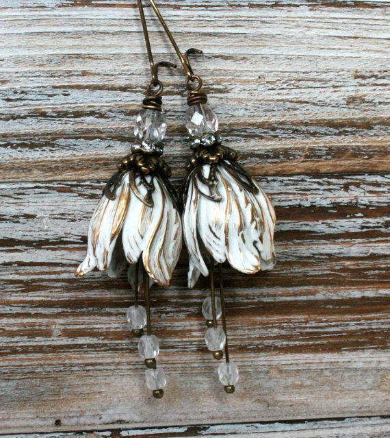 Clear wedding earrings Tulip flower earrings