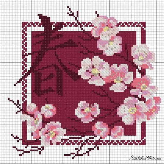 Схемы вышивки крестиком сакур