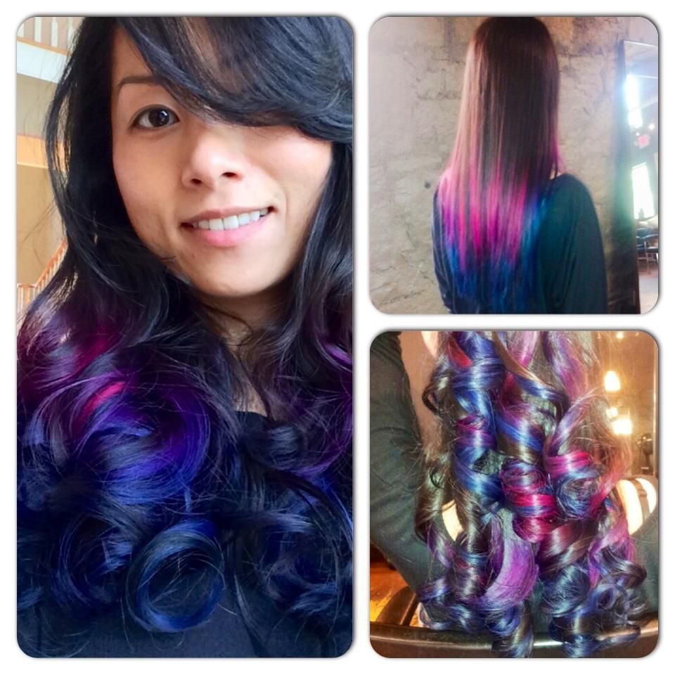 Love my raspberry pink to purple to navy blue ombre hair by becca