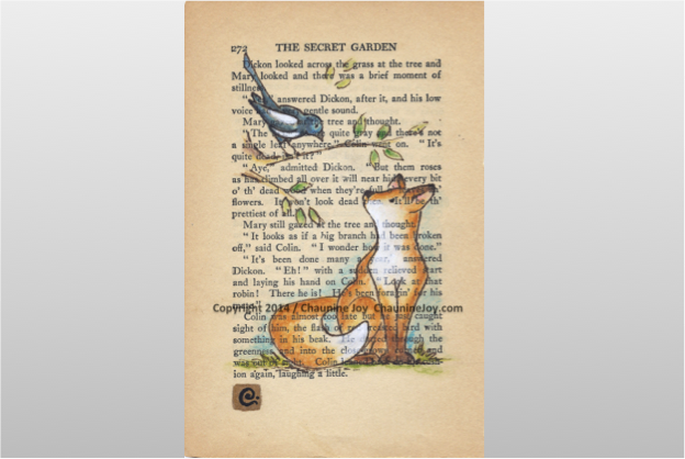 The Fox and the Magpie - by artist Chaunine Joy - watercolor painted on a page from The Secret Garden.