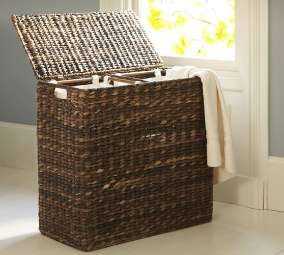 Seagrass Divided Hamper Amp Liner Havana Storage Baskets