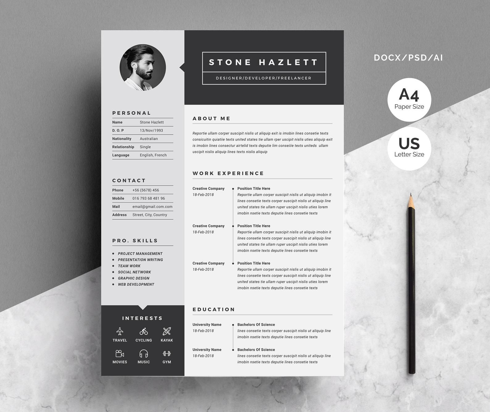 2 Pages Modern Resume Template Etsy Di 2021 Desain
