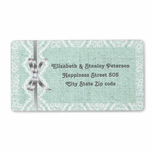 White V-shaped lace, mint burlap wedding Shipping Labels