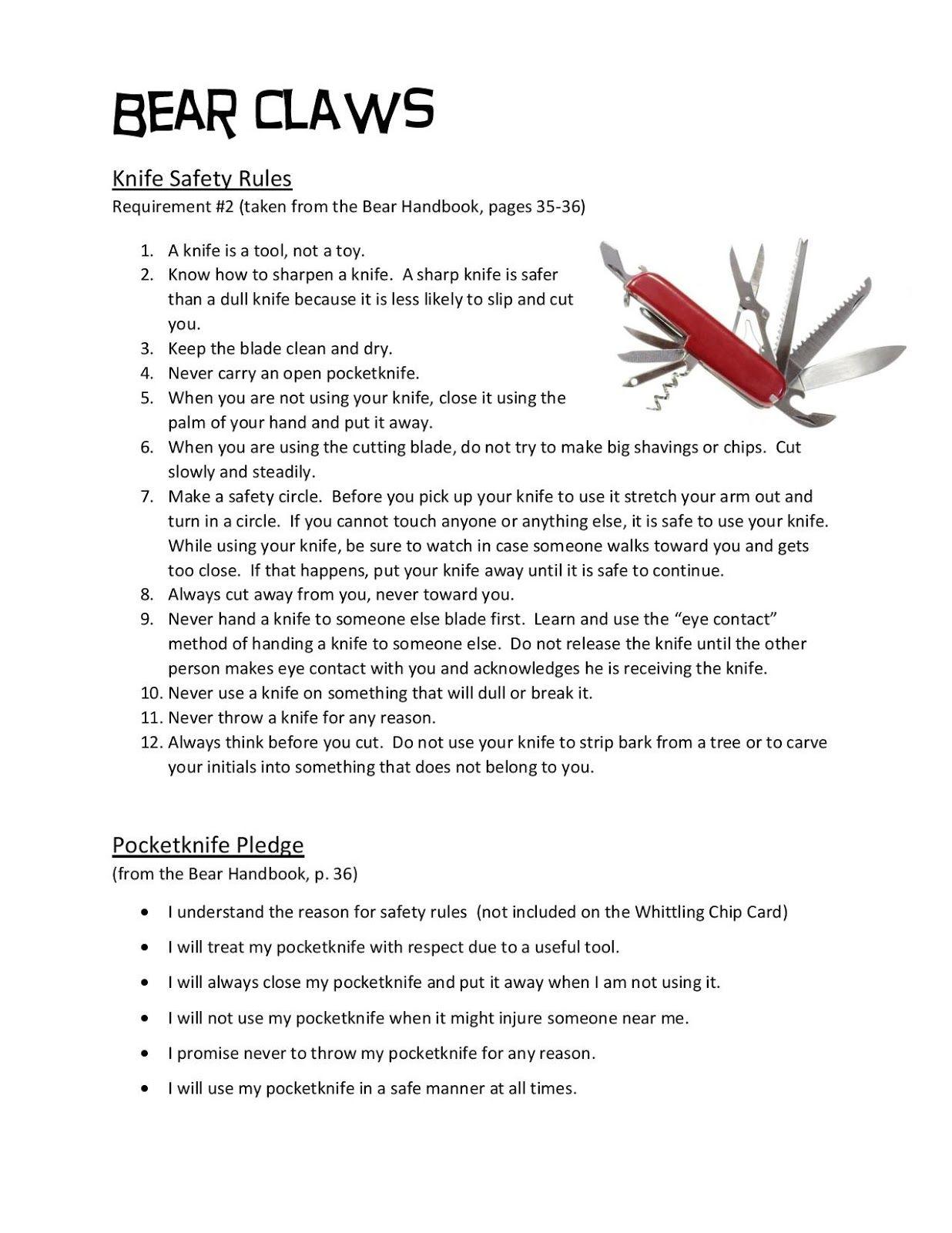 pocketknife safety rules