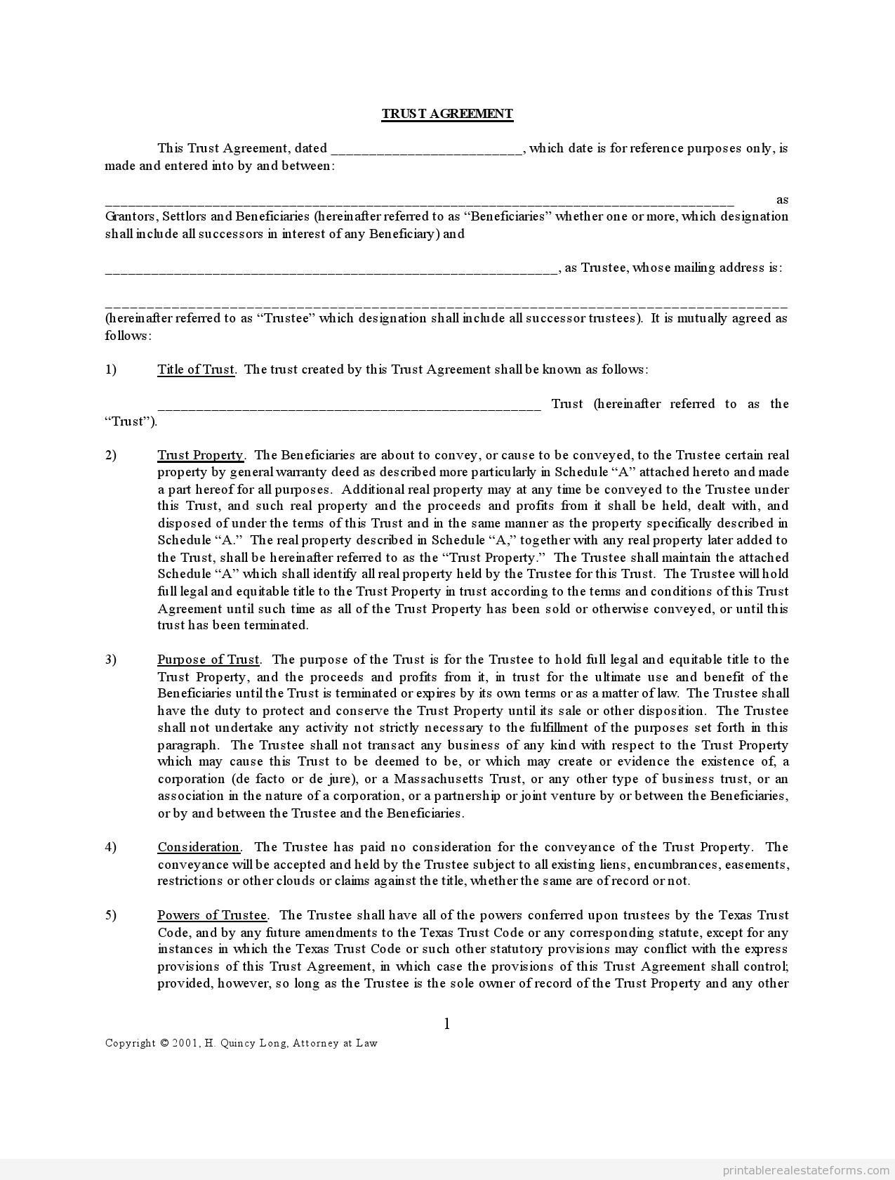 Trust Agreement Assorted Legal Forms Real Estate Forms Real