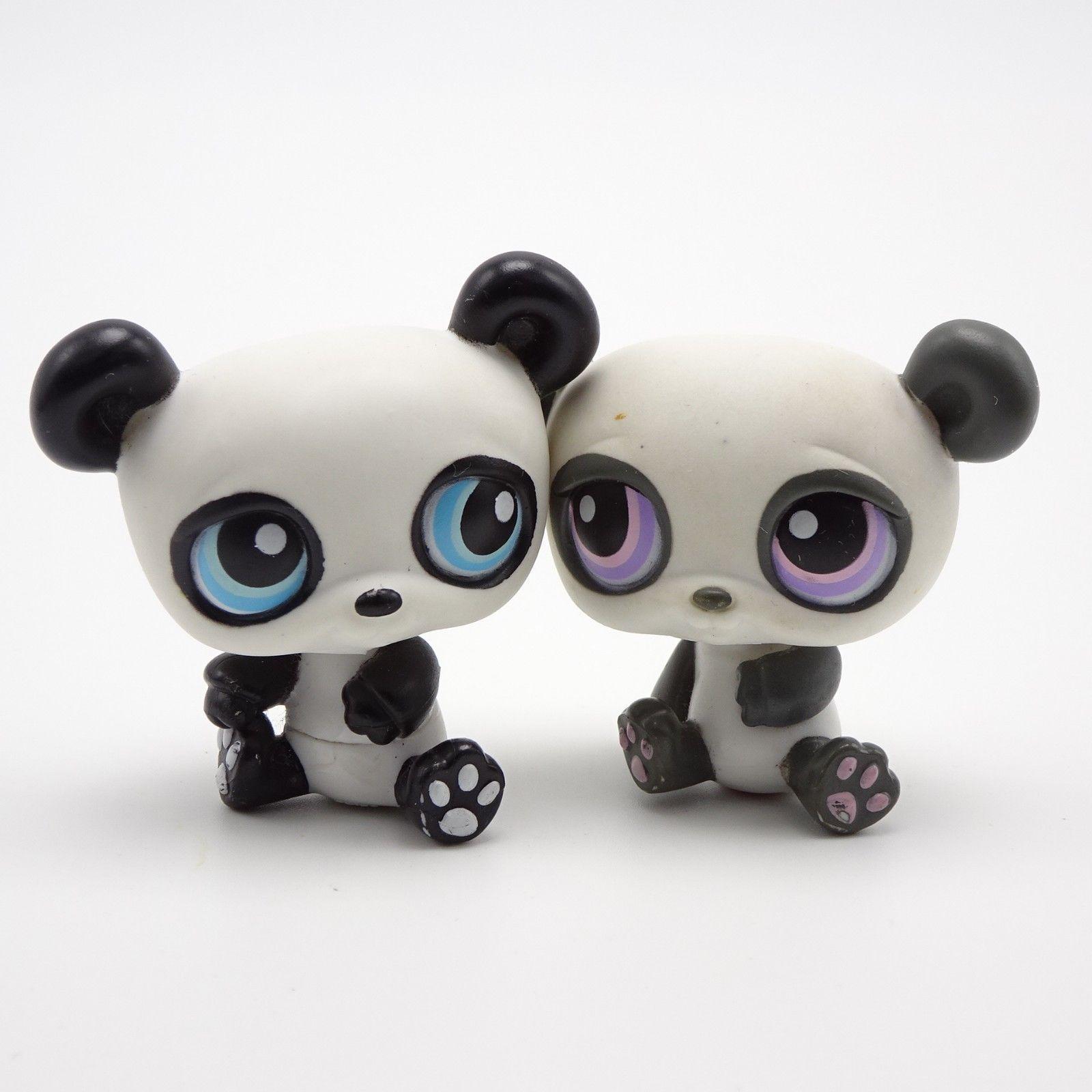Littlest Pet Shop Panda Bear Pair 89 Purple Eyes 90 Blue Eyes Ebay Littlest Pet Shop Pet Shop Panda Bear