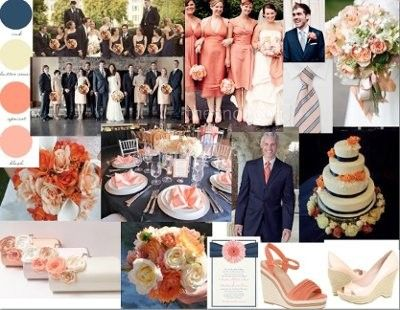wedding navy and peach | Navy and Peach Wedding Colors