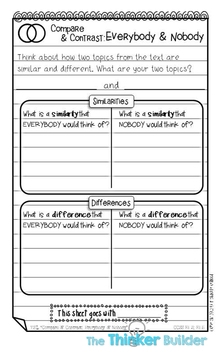 worksheet Compare And Contrast Worksheets 5th Grade love this alternative to the venn diagram really gets kids thinker builder tools compare and contrast some alternatives you know what