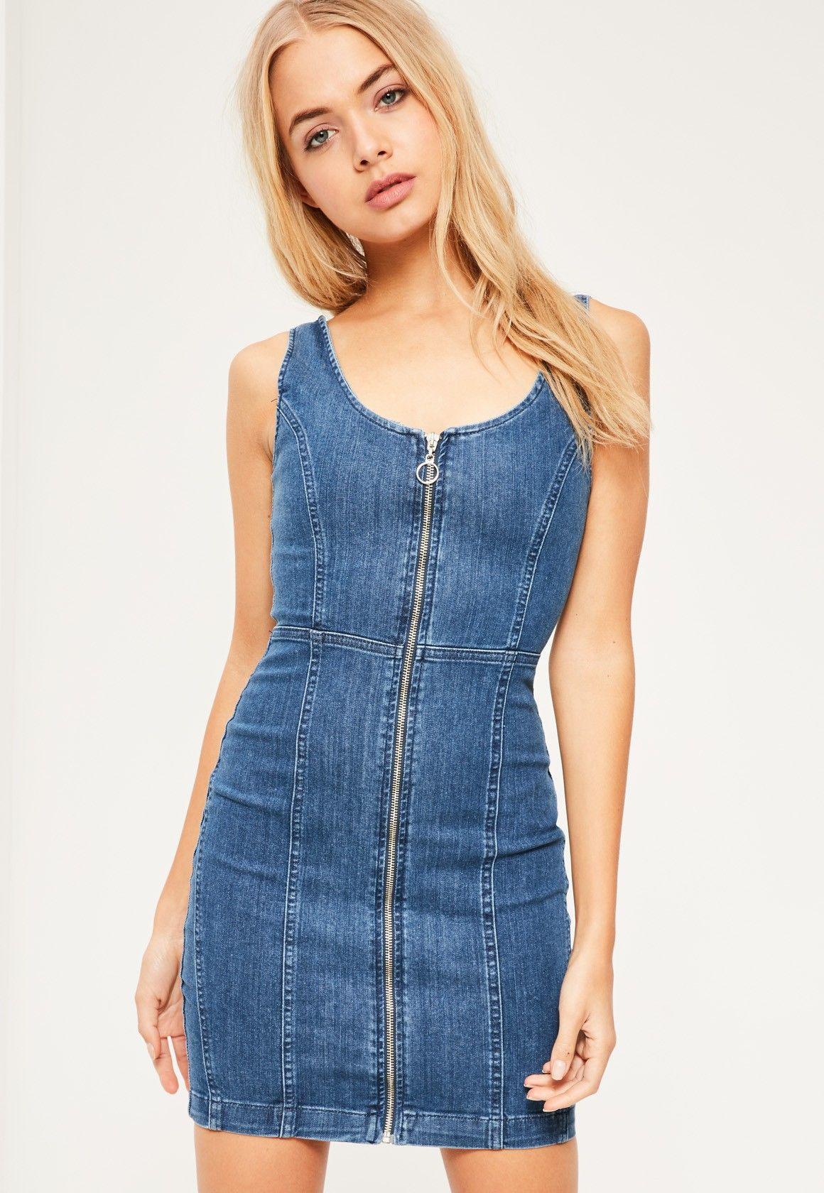 45560029b0 Missguided - Fitted Denim Dress Vintage Indigo