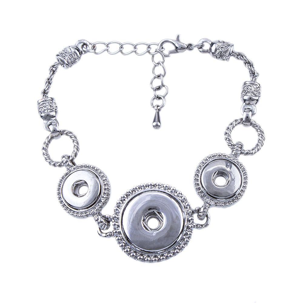 ZB434 Hot Sale 18+12mm Snap Bracelet Charm Bangles Alloy Bracelet Snap Button Jewelry Fashion Antique Design 3 Snaps Hoders
