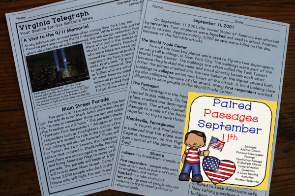 September 11th Reading Comprehension Paired Passages Reading