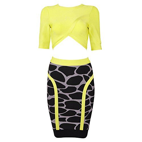 113be8fffbf Whoinshop Womens Bodycon Skirt Set 2 Pieces 34 Sleeves Celebrity ...