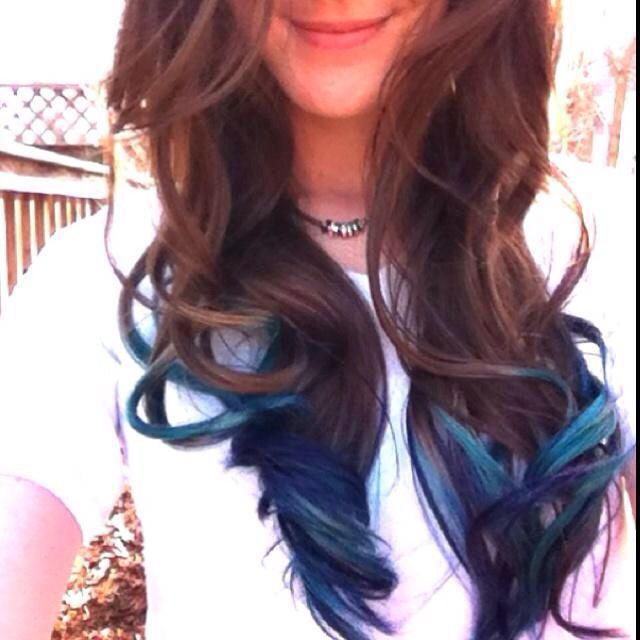 brunette and teal tips | Let the Locks Flow | Pinterest ...