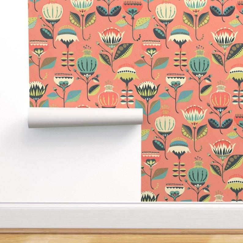 Floral Wallpaper Folksyflorals By Mintedtulip Retro Folk Etsy In 2020 Floral Wallpaper Spoonflower Wallpaper Self Adhesive Wallpaper