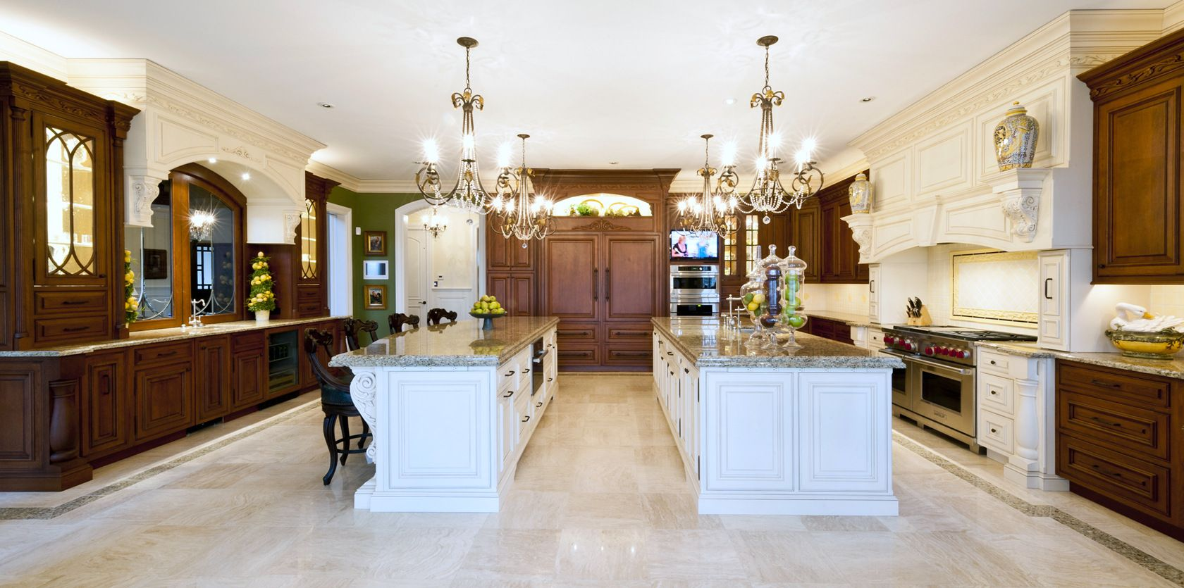 custom double island kitchen design by cvl designs, ocean city, nj
