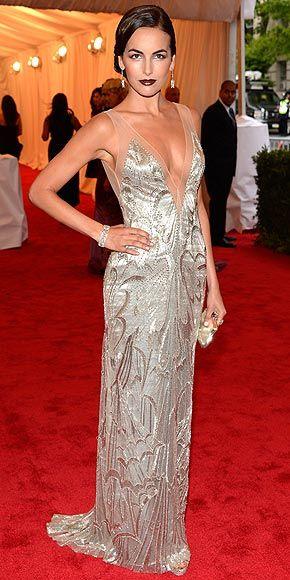 Camilla Belle Met Gala 2012 Beaded Ivory Ralph Lauren Collection Column Gown