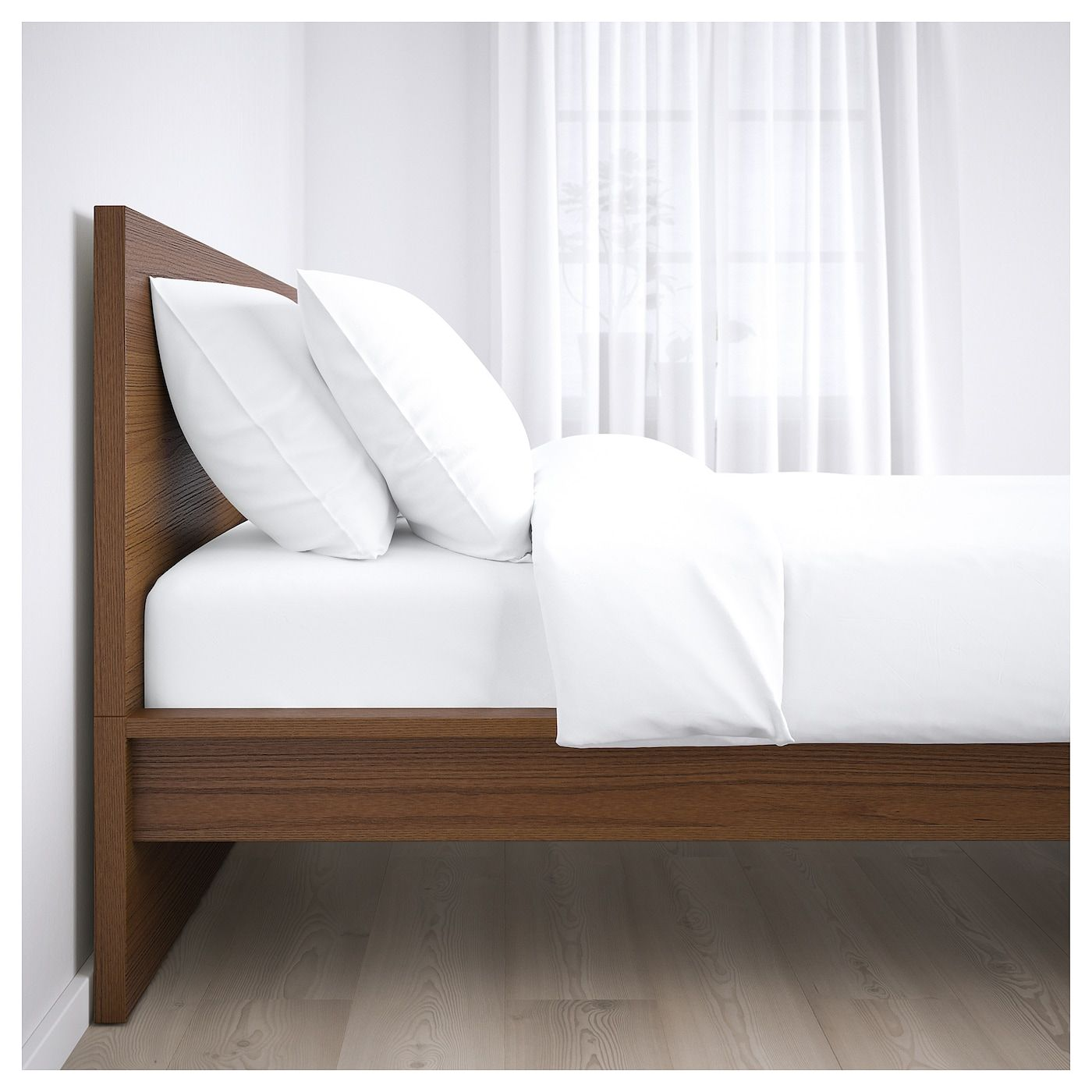 Malm Bed Frame High Brown Stained Ash Veneer King Malm Bed