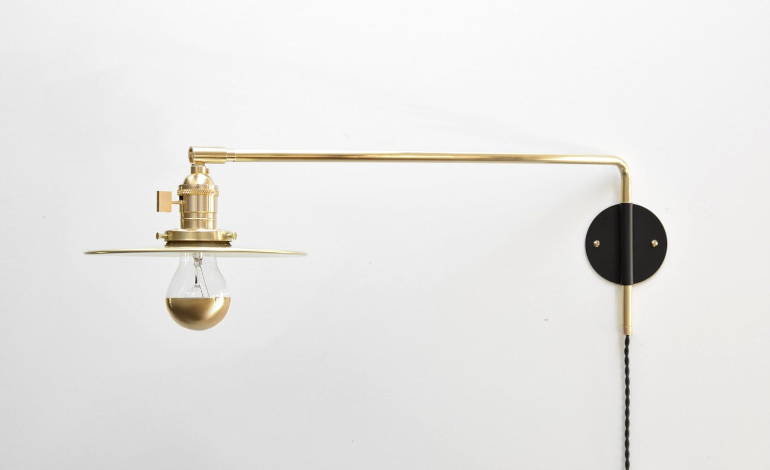 Modern Industrial Brass Swing Arm Sconce 14 20 Or 26 Inch