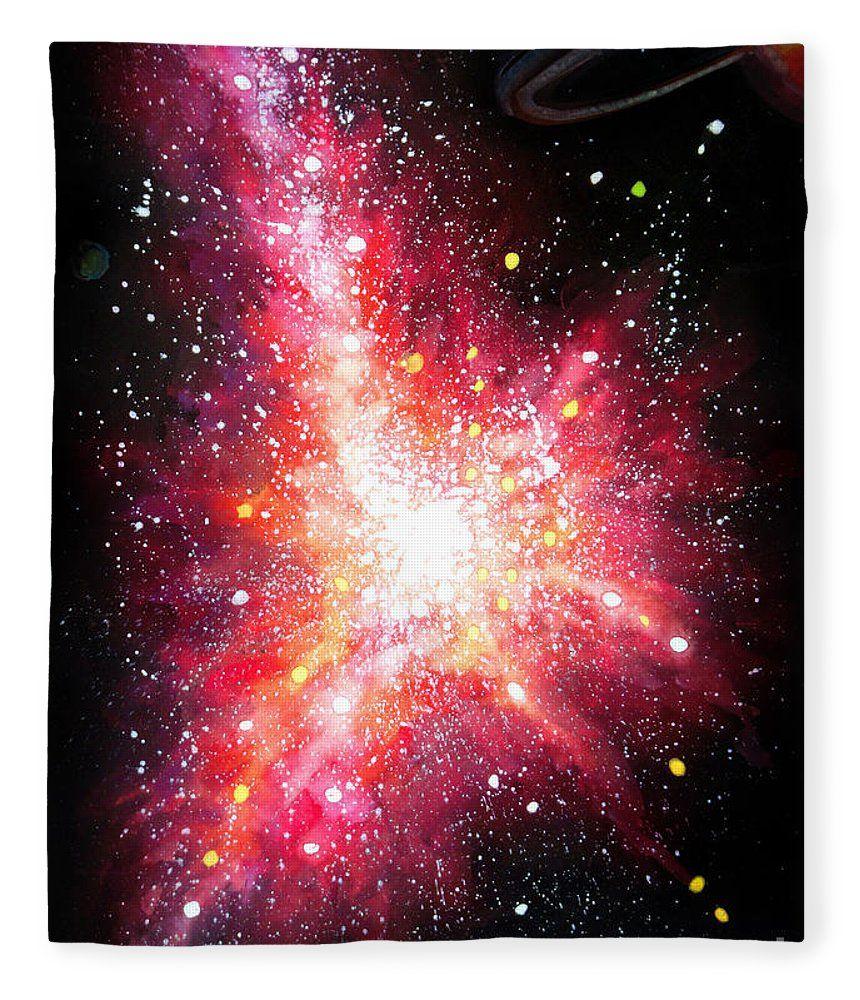 Flash Shape Pink Galaxy Space Art Fleece Blanket For Sale By Sofia Metal Queen