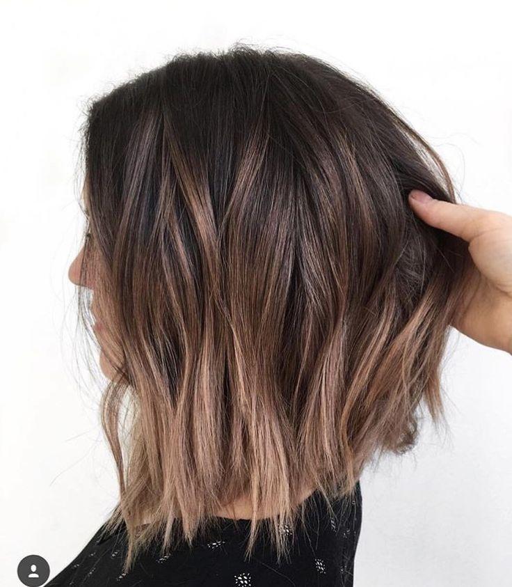 Braune Haare Hellbraune Highlights Balayage Kurze Haare