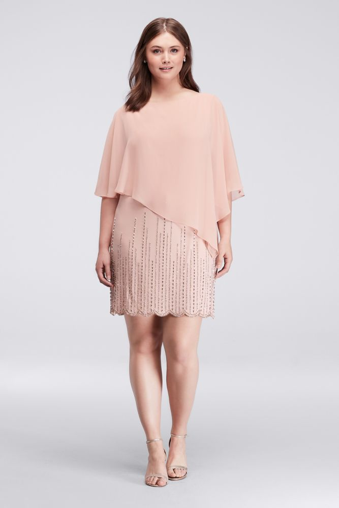 Caplet Plus Size Dress with Beaded Underlay - Blush (Pink), 20 ...