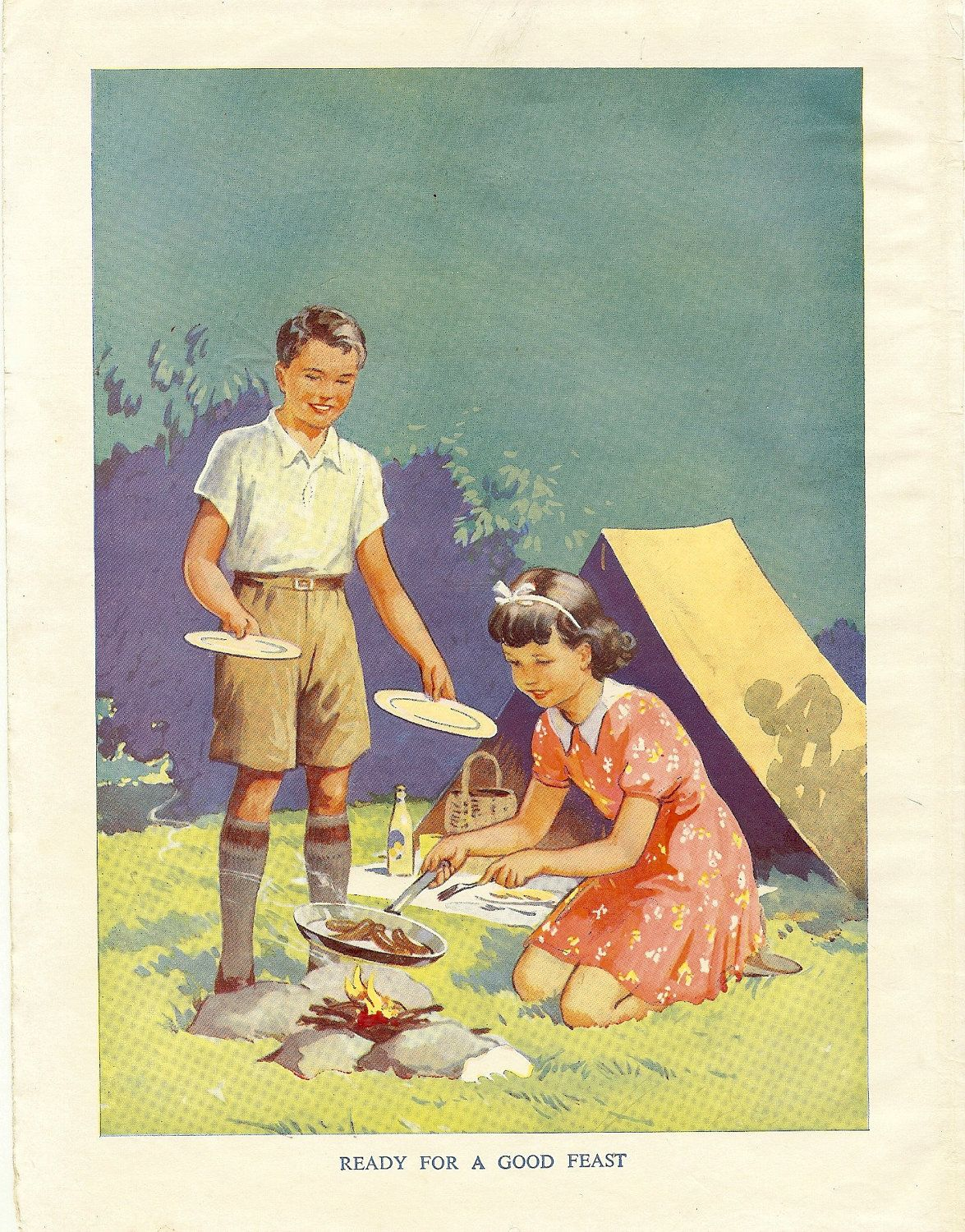 1950s Colour Print Children Camping and Cooking Sauages On ...