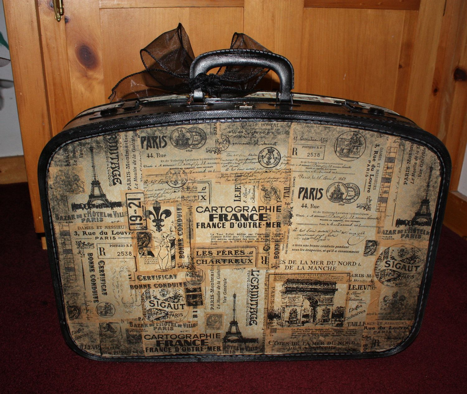 Vintage Altered Luggage Suitcase Decoupage , Paris , 7