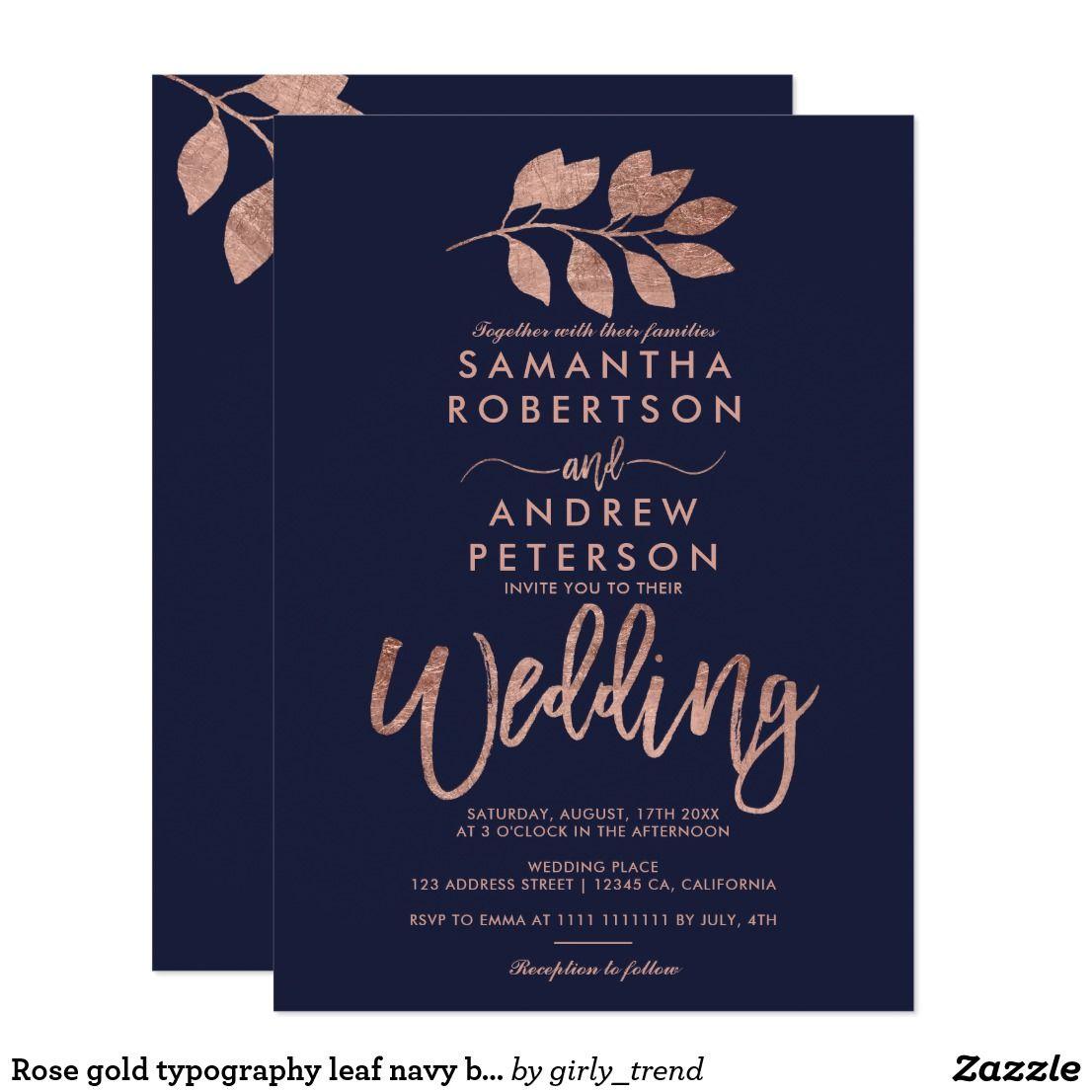Navy Blue Wedding Invitations Modern: Rose Gold Typography Leaf Navy Blue Wedding Invitation