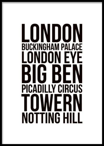 London Poster Sort Og Hvid Plakater Og Posters Med Citater Og Tekst Www Desenio Dk Plakater Billeder Stockholm