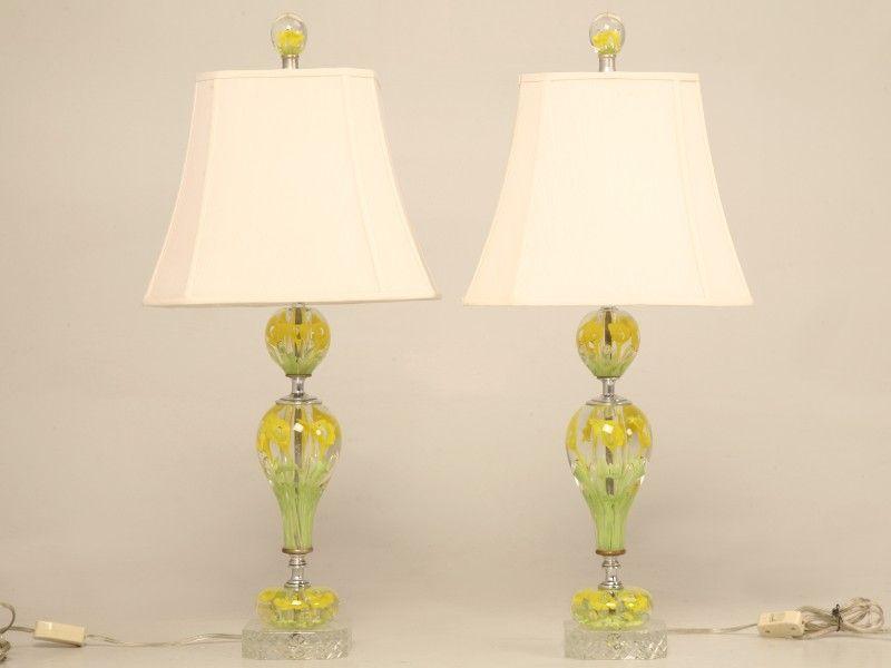 "st Clair glass lamps   Vintage Pair of Large ""St  Clair"" Art"