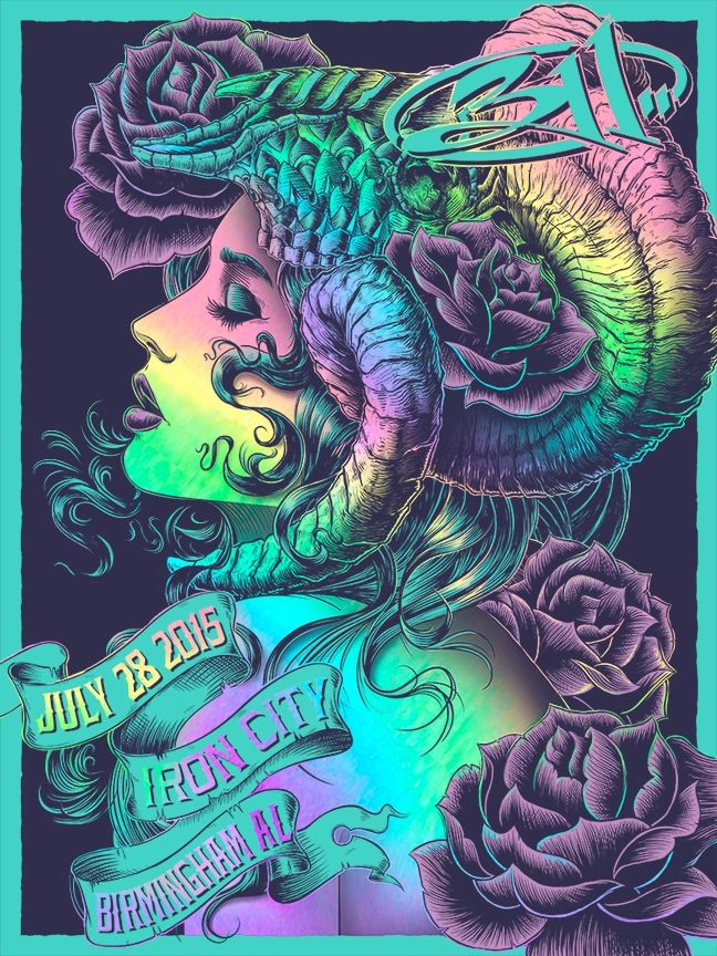 18 X 24 4 Color Screen Print On Rainbow Foil Paper For 311s July