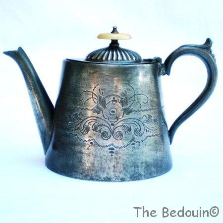 Victorian Britannia Metal Teapot. Edward Sweet, Birmingham. Antique (c 1860).