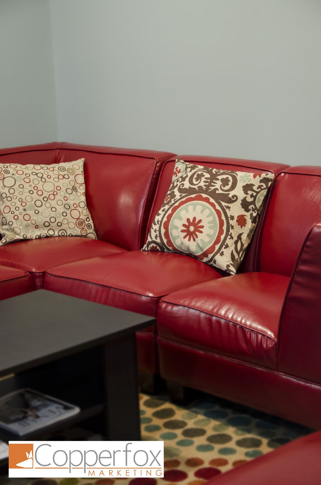 The Big Red Couch At The Copperfox Marketing Office