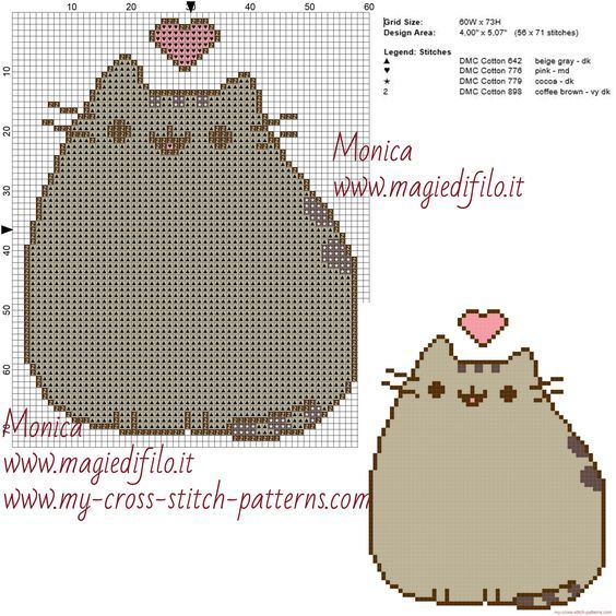 Pusheen cross stitch pattern | COUNTED CROSSTITCH | Cross stitch