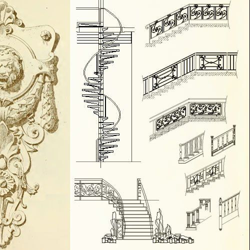 Ornamental Stair Parts | AutoCAD Blocks,Cad Drawing and Architecture