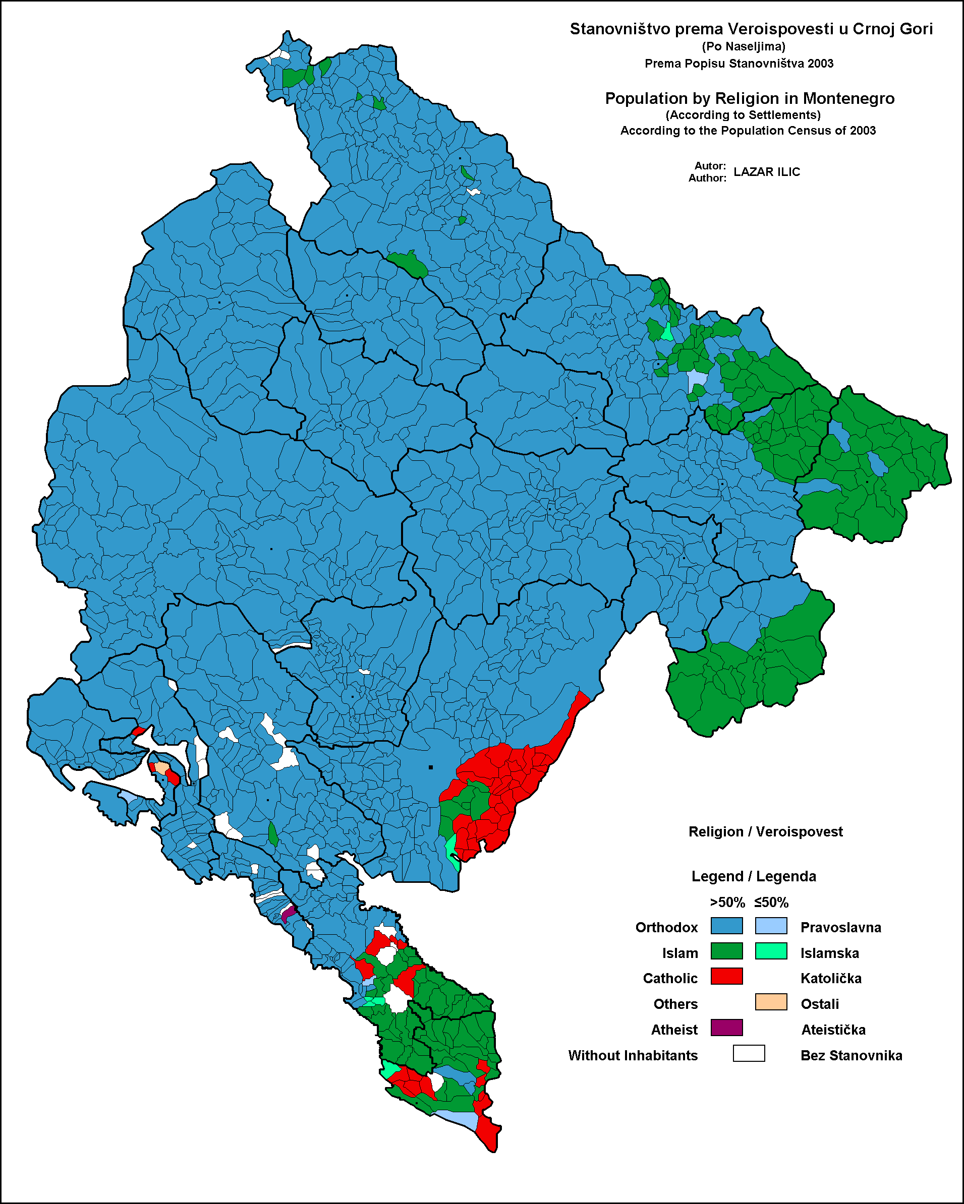 A Religion Map Of Montenegro For MAPS Pinterest - Montenegro maps with countries